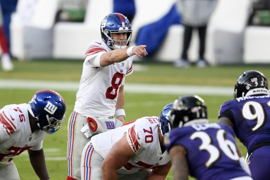 Nick Wass/The Associated PressNew York Giants quarterback Daniel Jones points during the second half of last Sunday's game against the Baltimore Ravens in Baltimore.