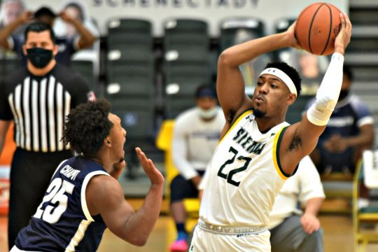 Siena's Jalen Pickett, right, starred during Sunday's win. (Stan Hudy)