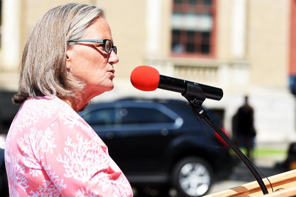 ERICA MILLER/The Daily GazetteSaratoga Springs Mayor Meg Kellytalks aboutthe running of the 150th TraversonJuly 26, 2019.