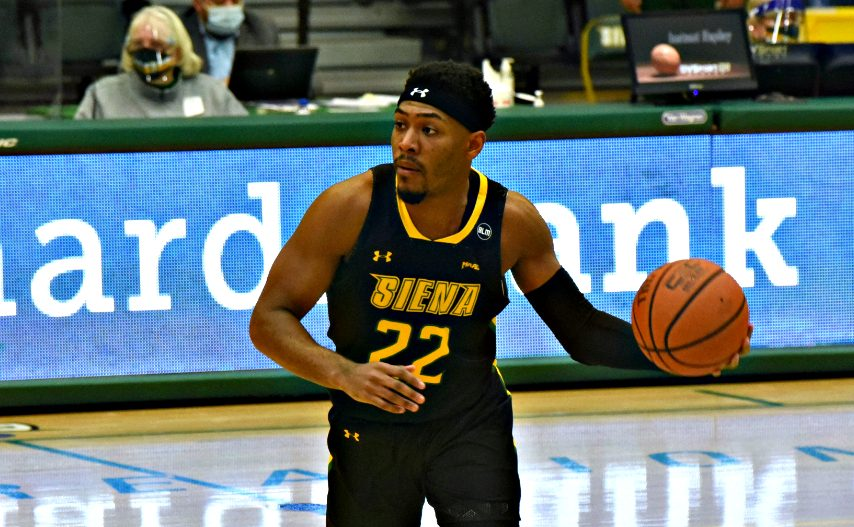 Siena's Jalen Pickett is shown during Monday's game. (Stan Hudy)
