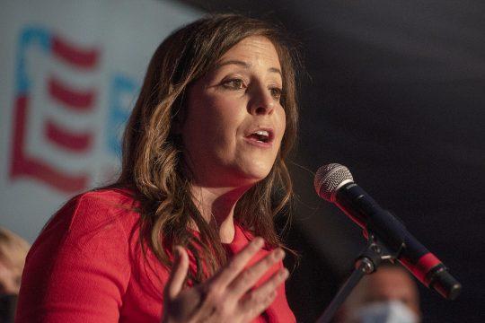 ERICA MILLER/STAFF PHOTOGRAPHER U.S. Rep.Elise Stefanik speaks to her supporters after declaring victoryonNov. 3.