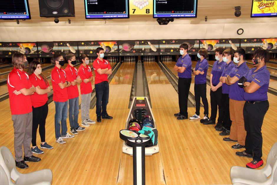 Bowlers from Broadalbin-Perth, left, and Amsterdam line up before their Foothills Council match at Kelly's Imperial Lanes in Amsterdam Monday.