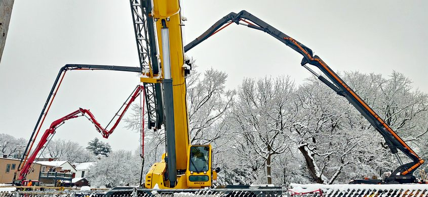 Jersen Construction Group of Waterford used two 47-meter concrete pumps to place 300-yards of concrete at the Stockade Neighborhood pump station adjacent to the Mohawk River Monday morning