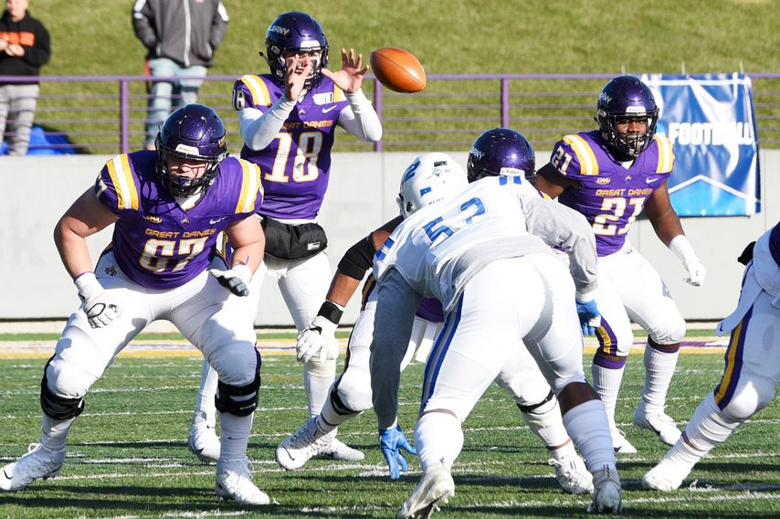 UAlbany quarterback Jeff Undercuffler takes a snap during a Nov. 30, 2019 FCS playoff game against Central Connecticut State at Tom & Mary Casey Stadium in Albany.
