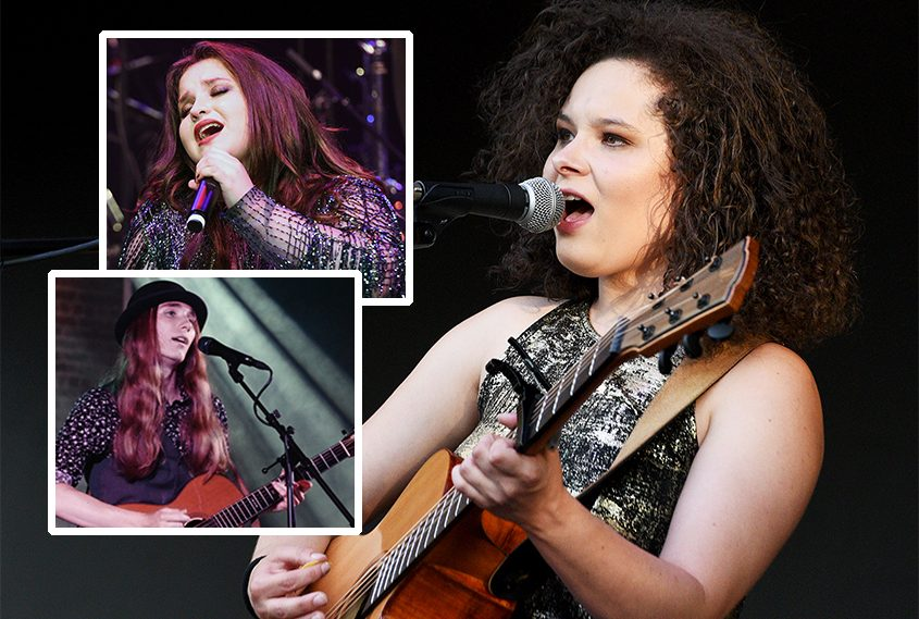 Moriah Formica performs onstage at the Clifton Commons in Clifton Park on Aug. 4, 2019. Inset: Madison VanDenburg at the Times Union Center in 2019 and Sawyer Fredericks at the Glove Theater in Gloversville in 2018.