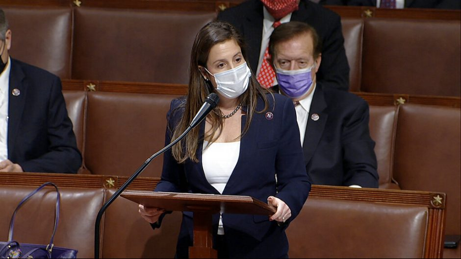 In this image from video, Rep. Elise Stefanik, R-N.Y., speaks as the House reconvenes to debate the objection to confirm the Electoral College vote from Arizona, after protesters stormed into the U.S. Capitol on Wednesday. (House Television via AP)