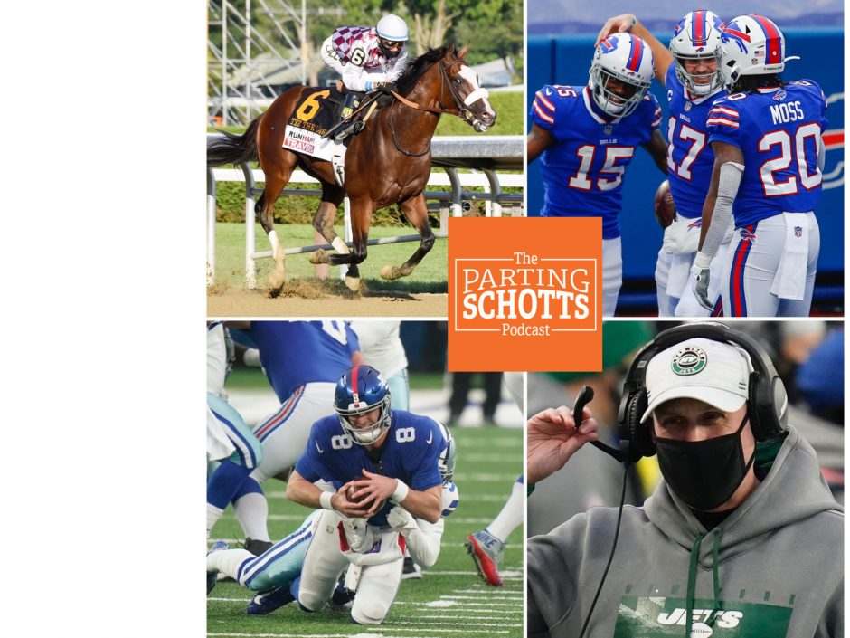 The Daily Gazette, AP file photosClockwise, Tiz the Law, the Buffalo Bills, New York jets and New York Giants are the subjects on the first 'The Parting Schotts Podcast' of 2021.