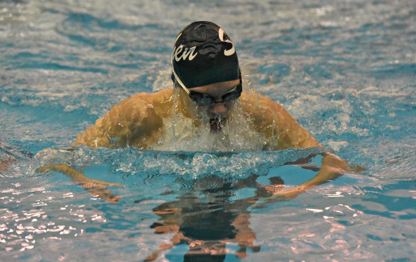 Shenendehowa's Jaden Homan competes in the 100-yard breaststroke during the season opening virtual meet against Shaker at the Shenendehowa Aquatics Center on the Clifton Park campus. STAN HUDY/DAILY GAZETTE