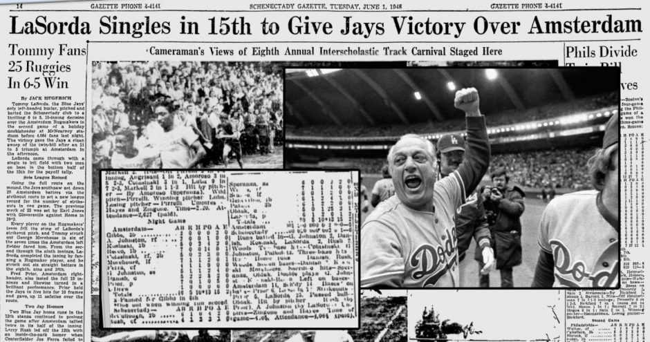 A screenshot of our June 1, 1948 article on Tommy Lasorda's 25-strikeout game. Insets: Our box score and Lasorda in a 1981 AP file photo