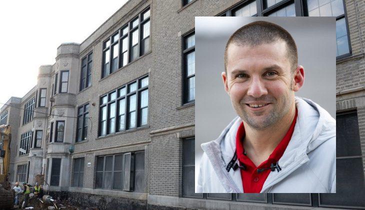 Oneida Middle School teacher Rick DeCarr (inset) and Oneida Middle School.