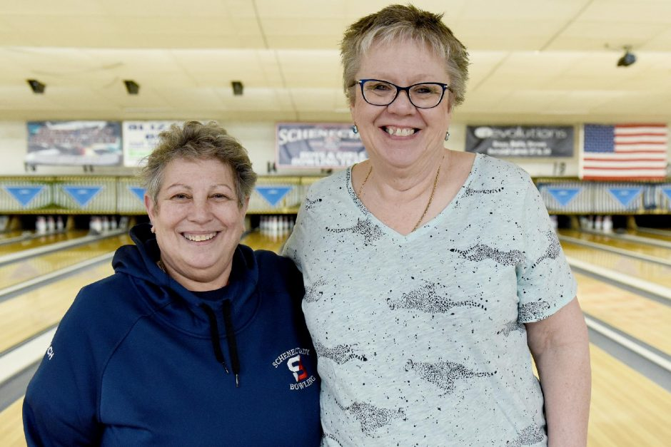 Erica Miller/The Daily GazetteSchenectady bowling head coach Karen Daffner, left and assistant head coach Sharon Sager during practices at Boulevard Lanes on March 9.