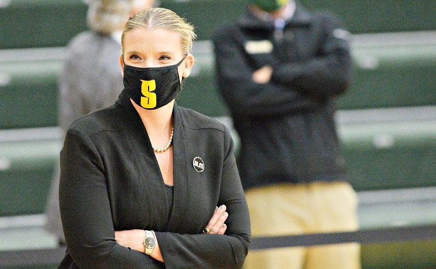 Siena women's basketball coach Ali Jaques is shown during a recent game. (Gazette file photo)