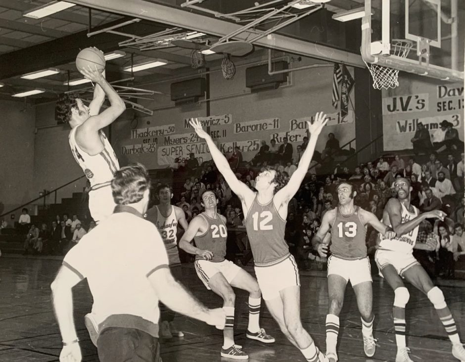 Schenectady native Barry Kramer puts up a shot for the Schaefer Brewers. Kramer scored 63 points for the Brewers 50 years ago Sunday. Provided
