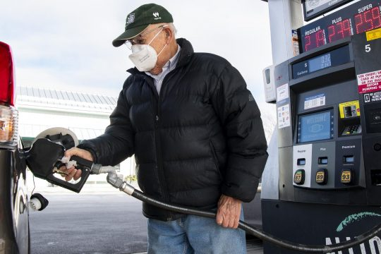 PETER R. BARBER/THEDAILY GAZETTE Mario Ciancetta of Alplaus fills his tank with gas at the Alltown Fresh Market at 1410 Erie Boulevard in Schenectady Friday, January 8, 2021.