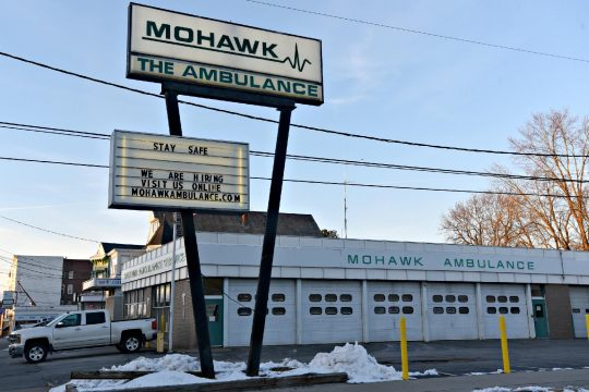 Exterior of Mohawk Ambulance Service Station No. 1 at 793 State Street in Schenectady Sunday
