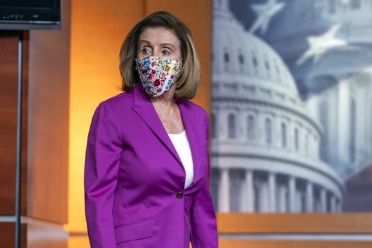 Speaker of the House Nancy Pelosi, D-Calif., holds a news conference on the day after violent protesters loyal to President Donald Trump stormed the U.S. Congress