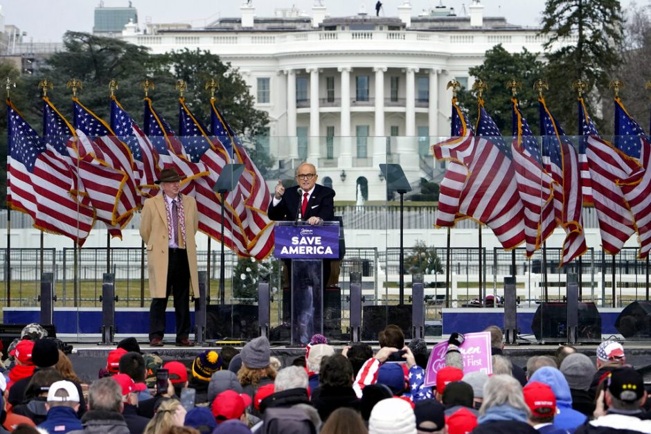 Former New York Mayor Rudolph Giuliani speaks in Washington at a rally in support of President Donald Trump Jan. 6  (AP Photo/Jacquelyn Martin, File)