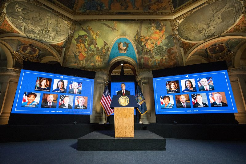 GOVERNOR'S OFFICEGov. Andrew Cuomo delivers his State of the State Address in the state Capitol on Monday.