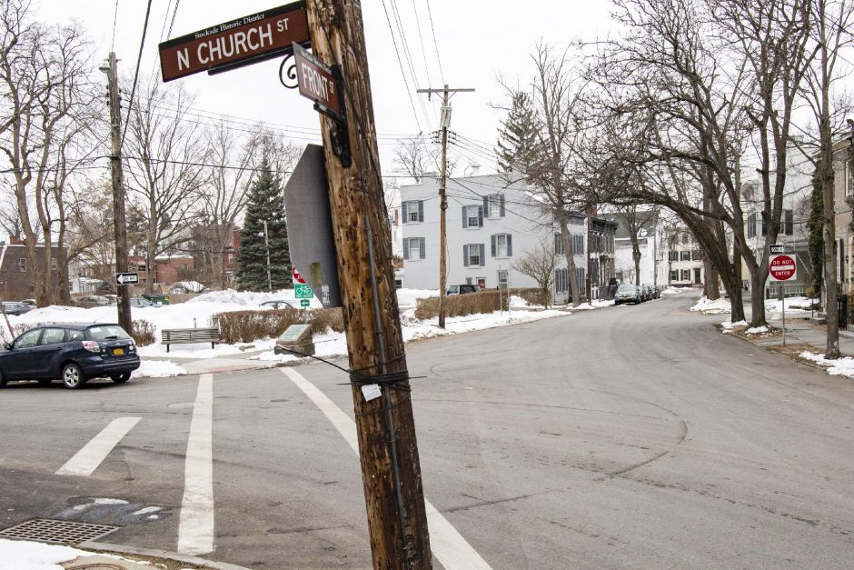 PETER R. BARBER/THE Daily GazetteThe intersection of North Church and Front streets in the Stockade is pictured Tuesday. The intersection was cited by the president of a neighborhood group as being unsafe.