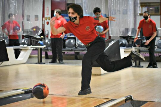STAN HUDY/THE DAILY GAZETTENiskayuna's Michael Barry releases his bowling ball on the approach Tuesday afternoon at Boulevard Bowl in Schenectady as the Silver Warriors faced Shaker in a virtual Suburban Council boys' bowling match.