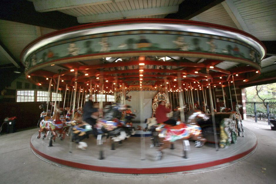 This Nov. 14, 2007 file photo shows the carousel in Central Park, in New York. The Trump Organization is under city contract to operate the two ice rinks and a carousel in Central Park as well as a golf course in the Bronx.