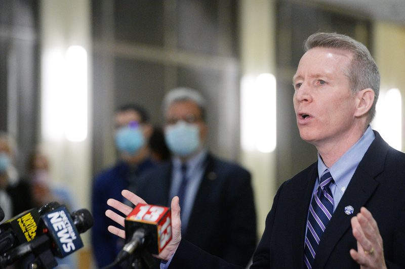 Albany Medical Center President and CEO Dr. Dennis McKenna speaks to reporters Dec. 14.
