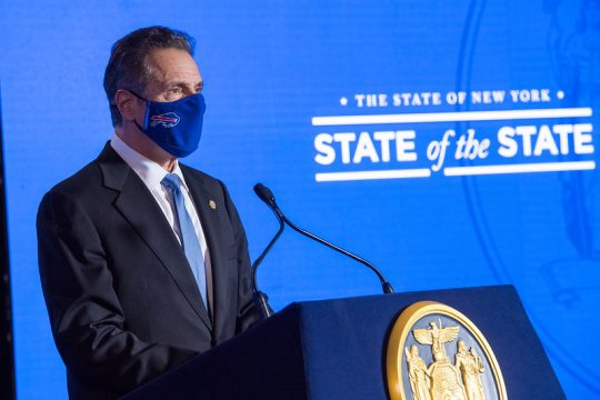 Governor's OfficeGov. Andrew Cuomo wears a Bills mask for Tuesday's installment of his State of the State Address.
