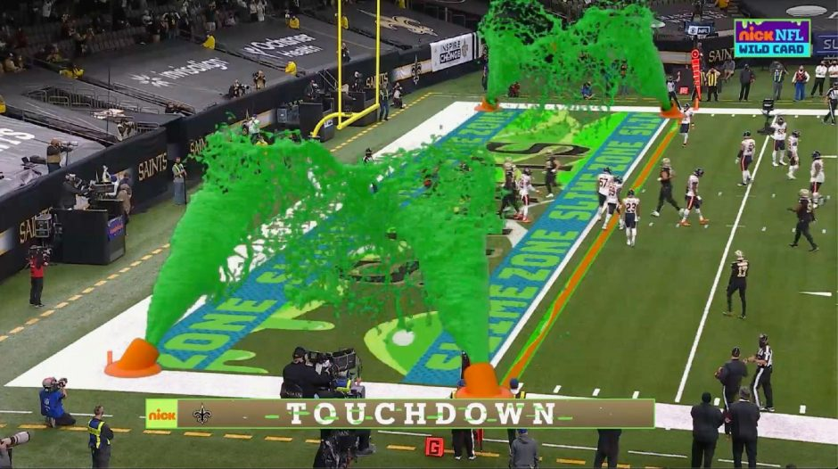 CBS/Viacom via The Associated PressVirtual slime cannons go off in the end zone after a touchdown during Nickelodeon's kid-focused broadcast of the NFL wild-card playoff game between the Chicago Bears and New Orleans Saints at the Superdome last Sunday.