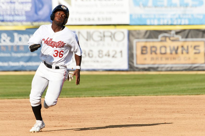 ERICA MILLER/GAZETTE PHOTOGRAPHER The ValleyCats' E.P. Reece heads to third base during a game at Joe Bruno Stadium on June 23, 2019. The team is suing MLB and its former parent club, the Houston Astros.