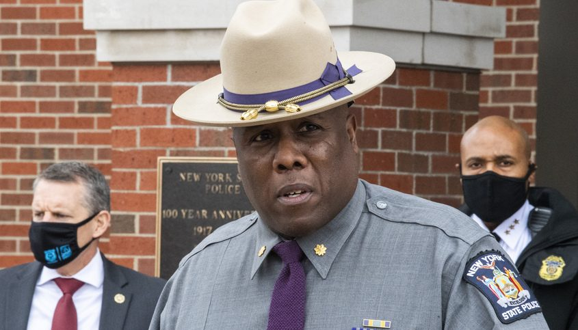 State police Troop G Commander Major Christopher West addresses members of the media Friday
