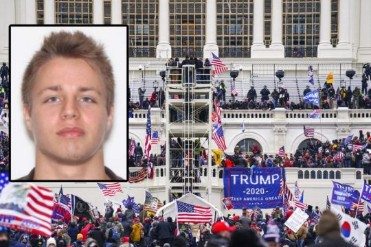Brandon Fellows (inset) Trump supporters outside the Capitol Jan. 6.