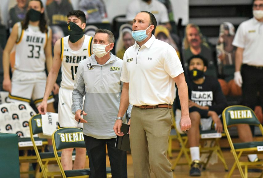 Siena men's basketball coach Carmen Maciariello looks at his Saints offense in the season opener at the Alumni Recreation Center on the Loudonville campus on Jan. 3. (Stan Hudy)