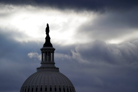 The bronze Statue of Freedom, by Thomas Crawford, is the crowning feature of the dome of the U.S. Capitol, shown ahead of the inauguration