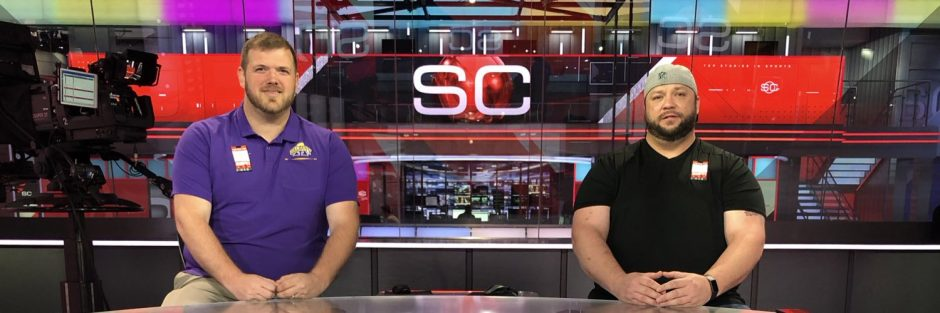 """Tom Goslowski, left, and Jeff Levack pose at the ESPN """"SportsCenter"""" studio in Bristol, Conn. Goslowski, who was co-host of """"Levack and Goz"""" and was the brand manager for 104.5 The Team, was let go by the station on Monday. (Tom Goslowski Twitter photo)"""