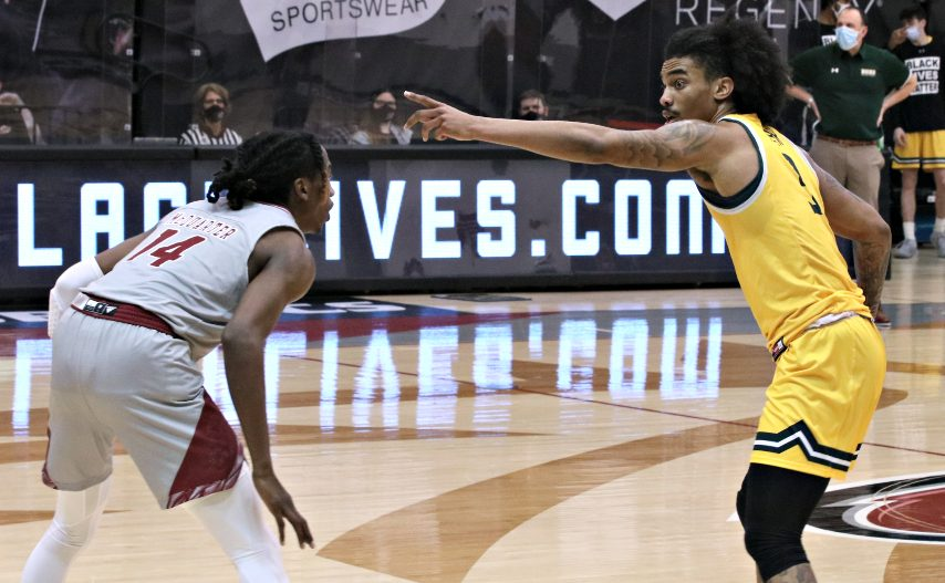 Siena's Manny Camper, right, had 17 points in Friday's win. (Photo courtesy Rider Athletics)