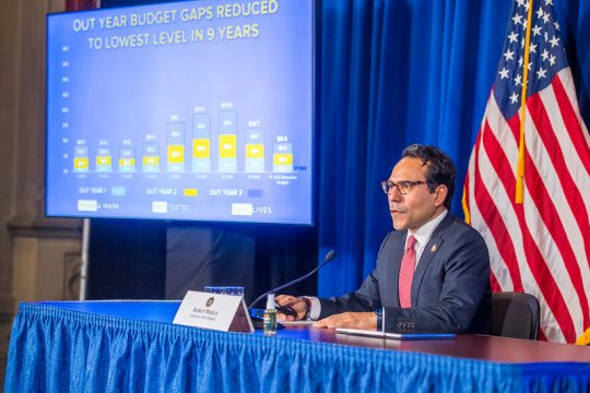 GOVERNOR'S OFFICEState Budget Director Robert Mujica holds a briefing Tuesday on Gov. Andrew Cuomo's budget proposal.