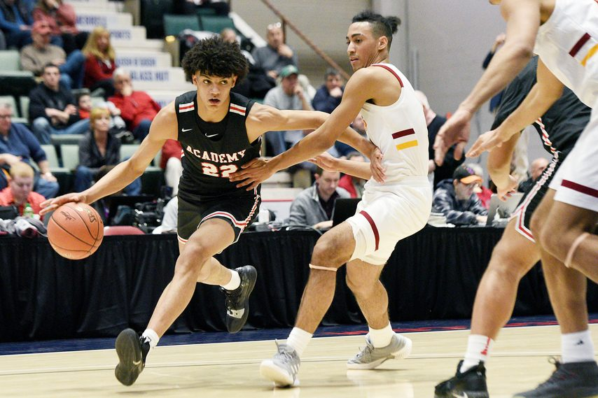 Andre Jackson, currently at the University of Connecticut, helped his Albany Academy team beat Frederick Douglass Academy in the 2019 Class A title game at the New York State Federation Tournament of Champions at Cool Insuring Arena in Glens Falls.