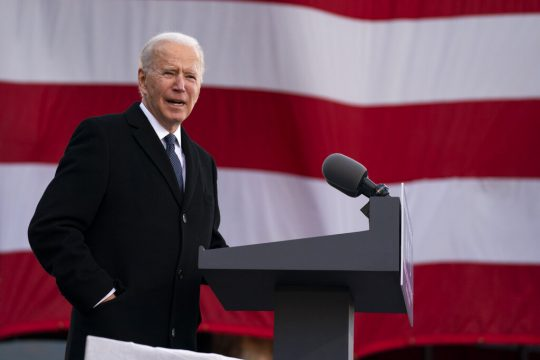 "President-elect Joe Biden speaks at the Major Joseph R. ""Beau"" Biden III National Guard/Reserve Center, Tuesday, Jan. 19, 2021, in New Castle, Del."