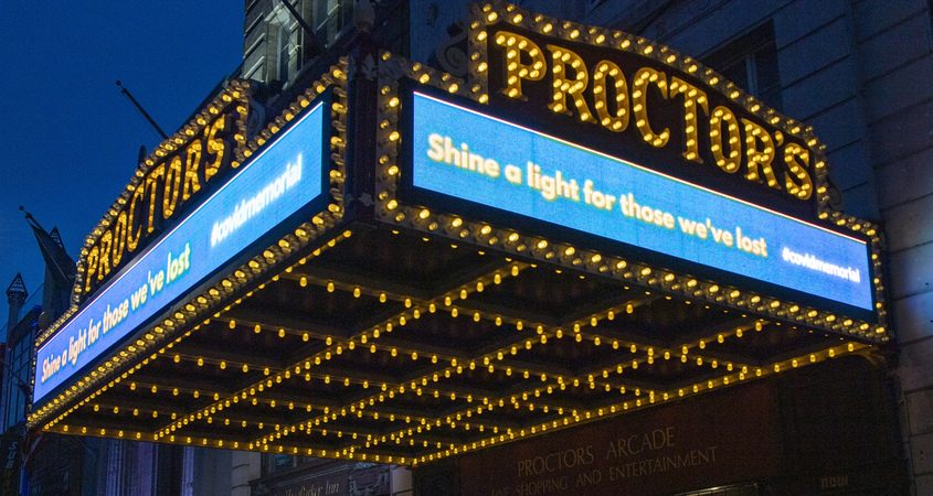 "The Proctors Theatre marquis sends a message to ""Shine a light for those we've lost"" as COVID deaths in the United States surpasses 400,000 Tuesday, January 19, 2021."
