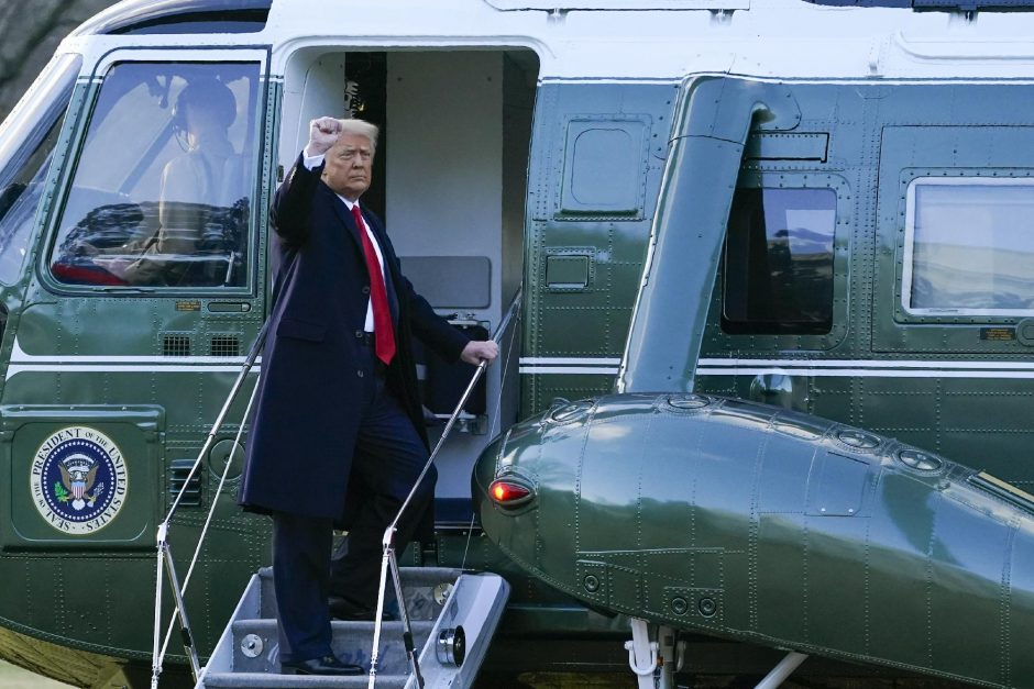 Alex Brandon/The Associated PressPresident Donald Trump gestures as he boards Marine One on the South Lawn of the White House on Wednesday in Washington. Trump is en route to his Mar-a-Lago Florida Resort.