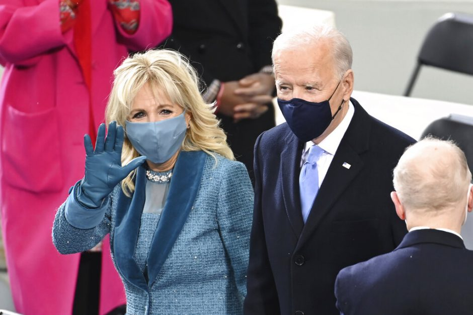 President-elect Joe Biden and his wife Jill Biden arrive for the 59th Presidential Inauguration at the U.S. Capitol for Biden in Washington, Wednesday, Jan. 20, 2021.