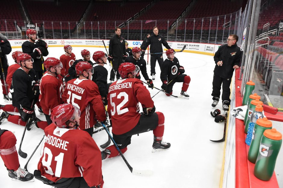 Arizona Coyotes photoFormer Union College hockey player Jay Varady gives instructions during Arizona Coyotes development camp last summer. Varady was named an assistant coach for the Coyotes last week.