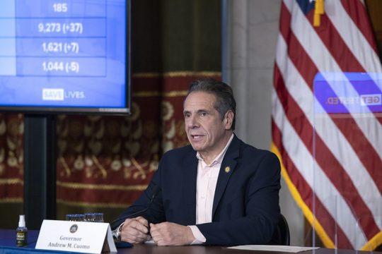 GOVERNOR'S OFFICEGov. Andrew Cuomo delivers an update on COVID-19 on Wednesday at the state Capitol.
