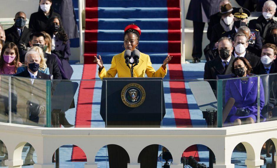 National youth poet laureate Amanda Gorman recites her inaugural poem Wedmesday. (AP Photo/Patrick Semansky, Pool)