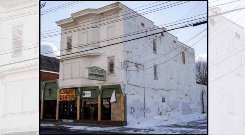 The fire-damaged Marcella's Appliance store at 810 Crane St. in Schenectady is shown Wednesday.
