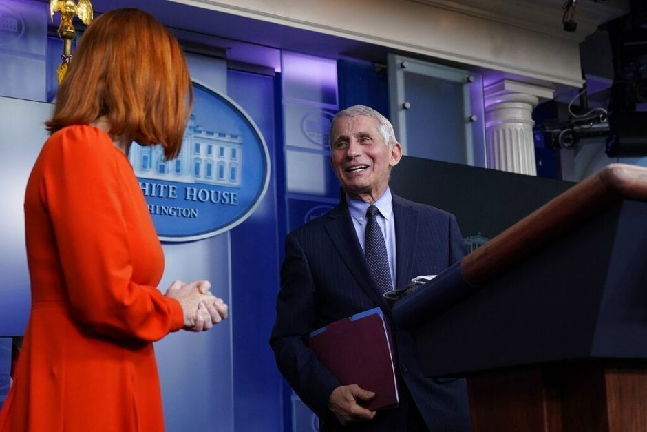 White House press secretary Jen Psaki speaks with Dr. Anthony Fauci, director of the National Institute of Allergy and Infectious Diseases Thursday