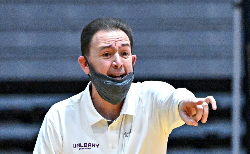 UAlbany men's basketball head coach Will Brown is shown during a game last weekend. (Bob Mayberger/UAlbany Athletics)