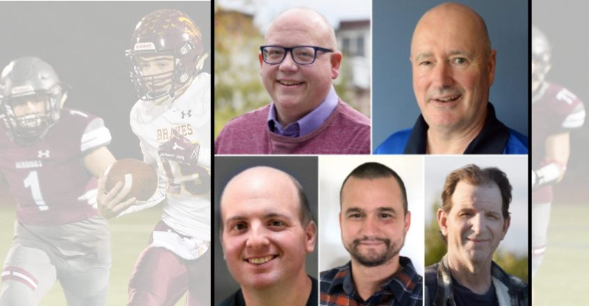 Clockwise, Daily Gazette staffers Stan Hudy, Ken Schott, Jim Schiltz, Michael Kelly and Adam Shinder discuss some of the more harrowing adventures trying to file a story. Background: Photo from a 2019 Fonda-Fultonville football game