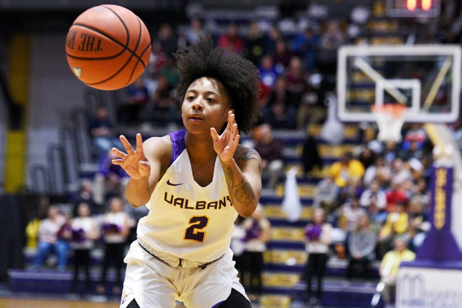 Gazette file photoKyara Frames scored 12 points Saturday to help UAlbany beat New Hampshire 59-47 at SEFCU Arena.