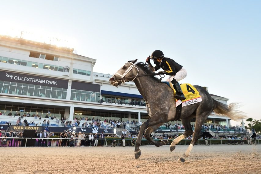 GULFSTREAM PARK PHOTOKnicks Go and jockey Joel Rosario roll to victory in the $3 million Pegasus World Cup at Gulfstream Park on Saturday.